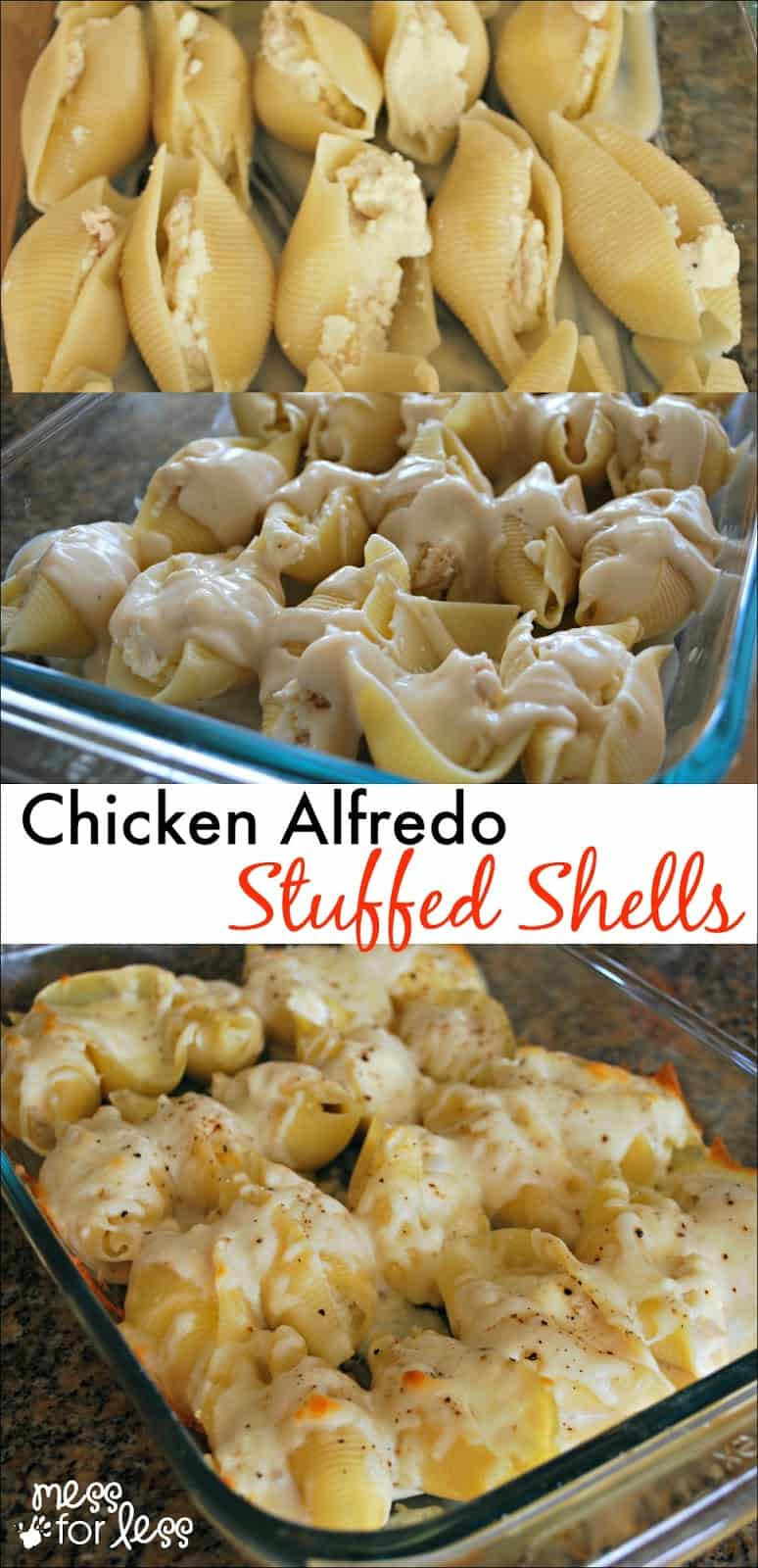 Chicken alfredo stuffed shells mess for less chicken alfredo stuffed shells yummy twist on traditional stuffed shells recipe comfort food at forumfinder Choice Image