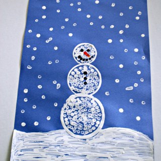 Q-Tip Painted Snowman Craft
