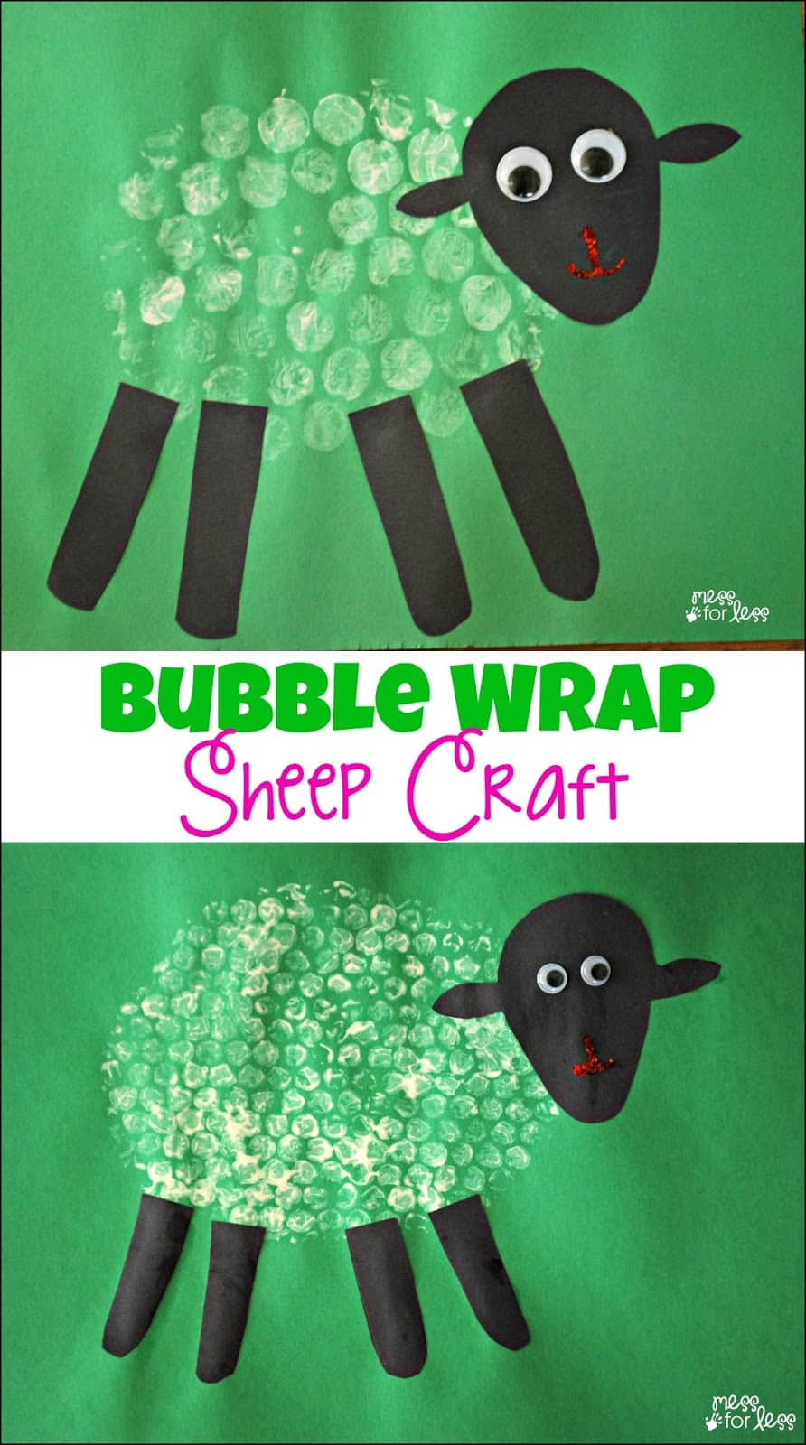 Bubble Wrap Sheep Craft - the perfect Spring craft for kids! Great for Easter too!