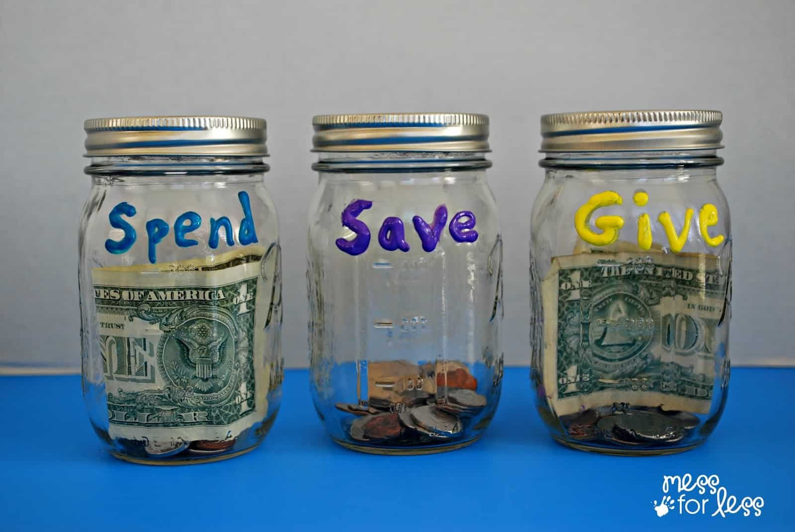 Teaching kids to save with spend save give jars