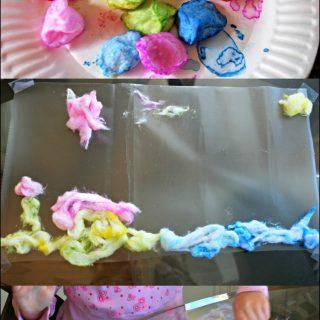 Sensory Art with Cotton Balls
