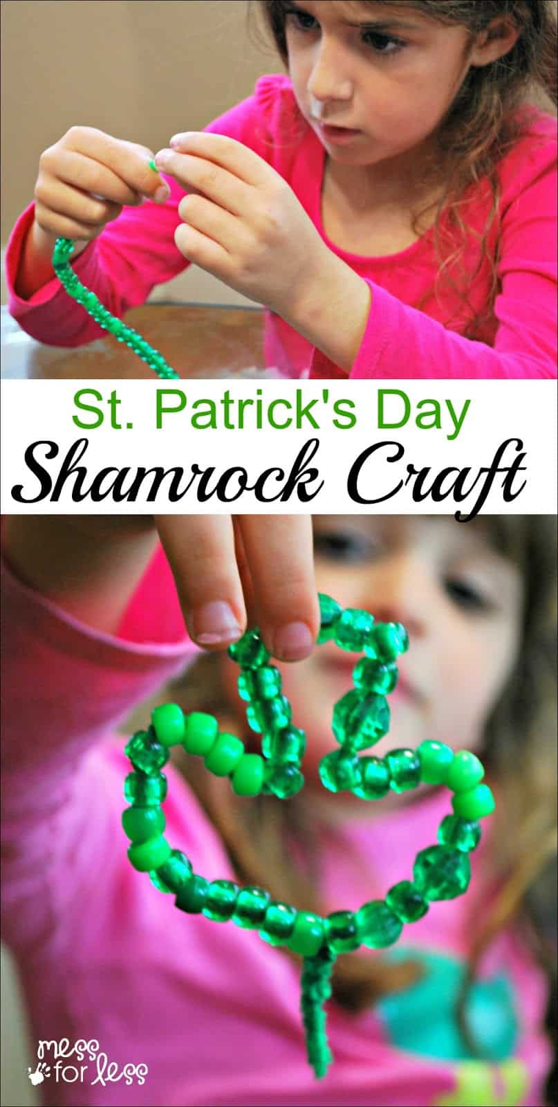 St. Patrick's Day Shamrock Craft - a fun and simple kids crafts that also reinforces fine motor skills.