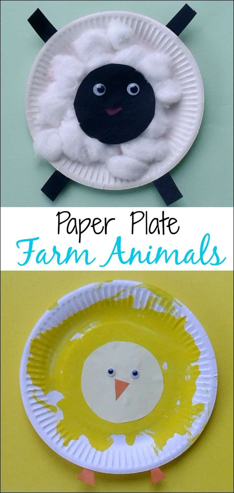 Crafts for toddlers paper plate baby farm animals mess for Easy paper plate crafts