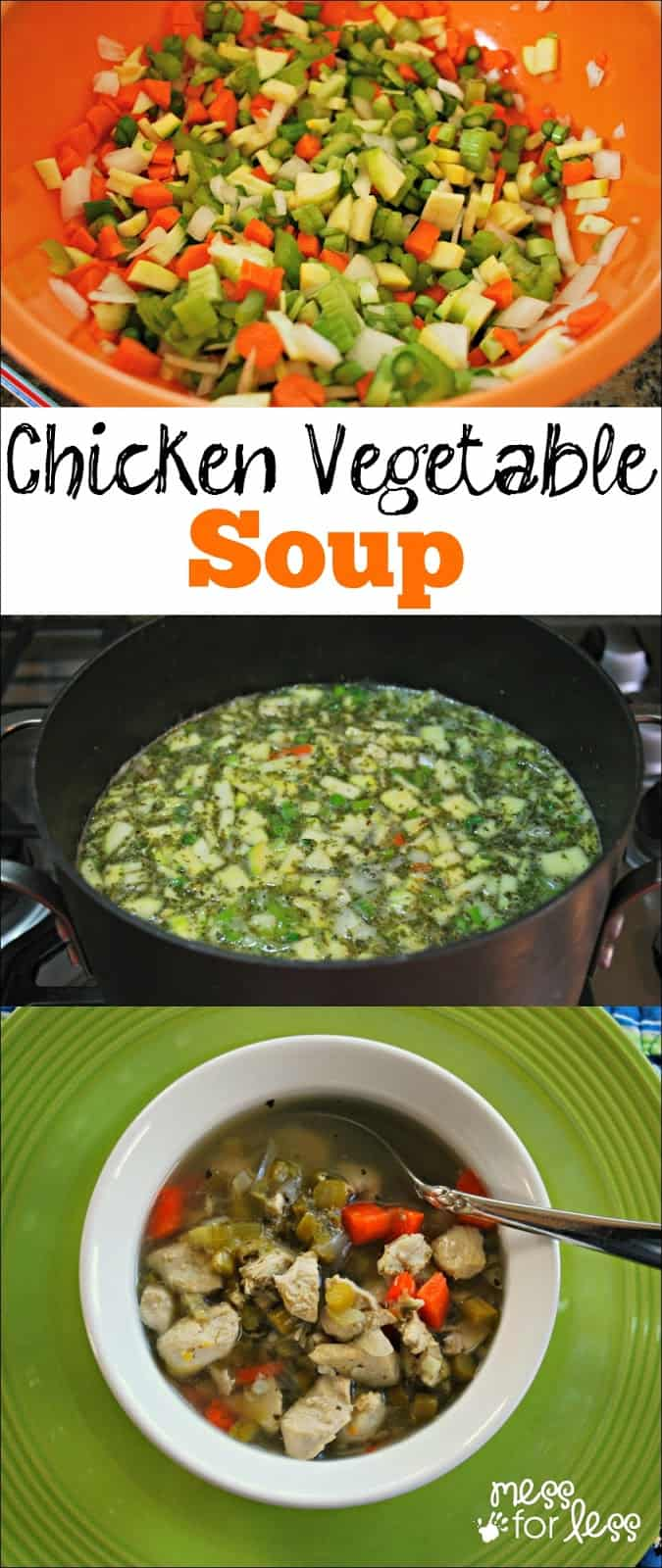 Chicken Vegetable Soup - A filling and healthy low carb soup. This is so good, you won't miss the noodles!