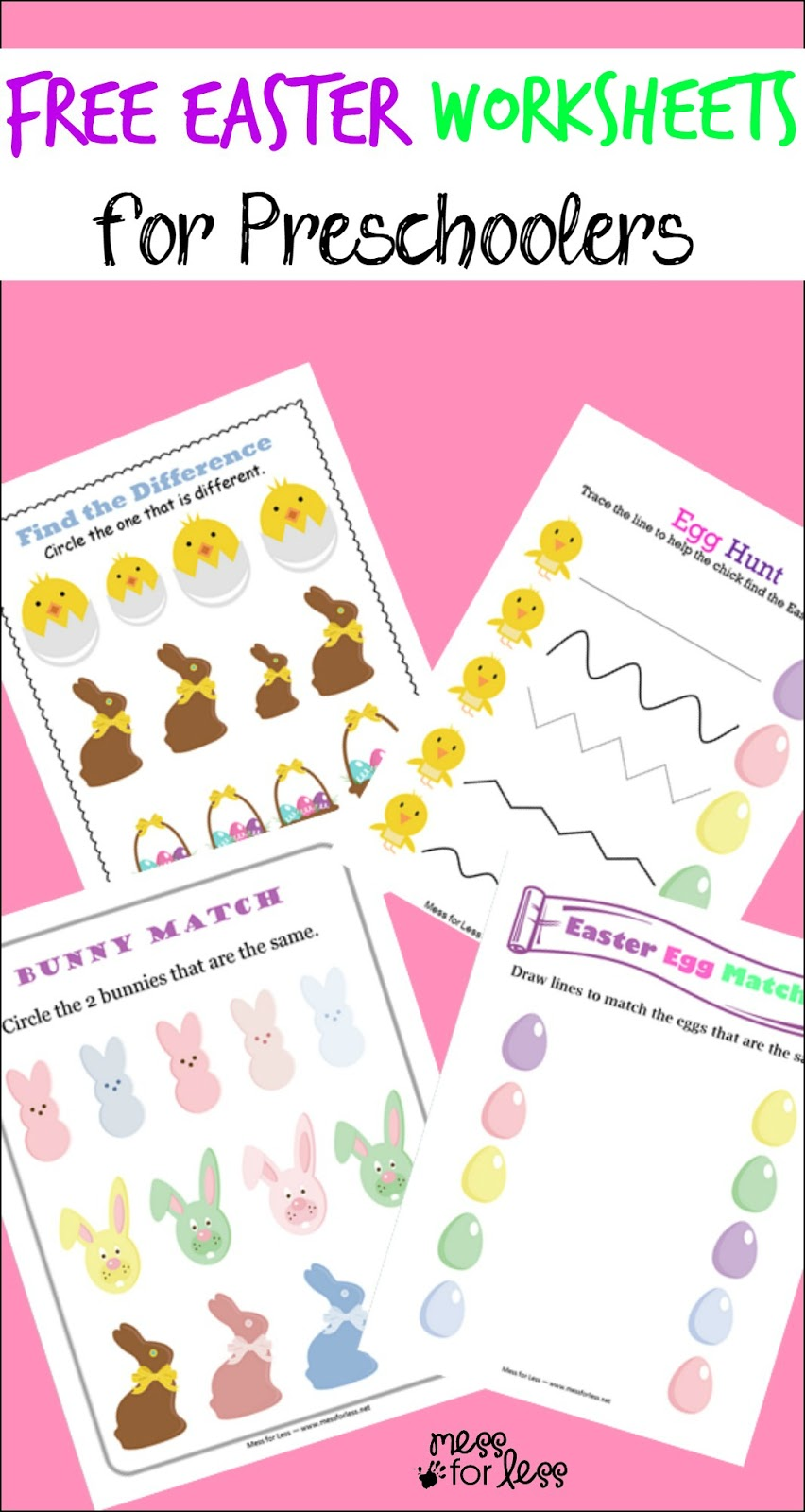 free easter preschool worksheets mess for less. Black Bedroom Furniture Sets. Home Design Ideas