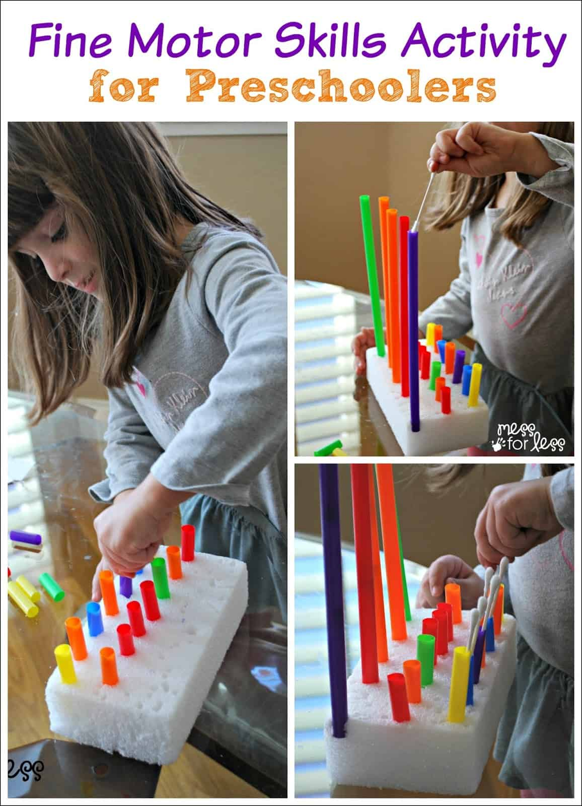 Fine motor skills activity with beads mess for less for Fine motor skills activities for babies
