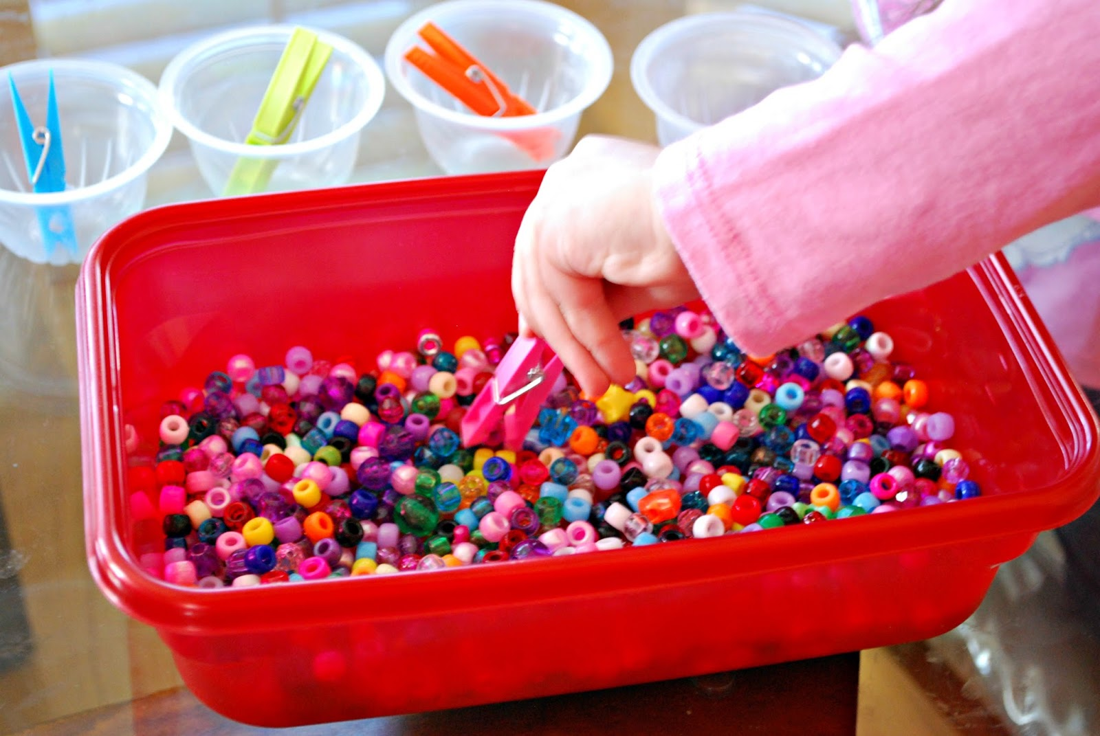 Fine Motor Skills Activity with Beads - Mess for Less