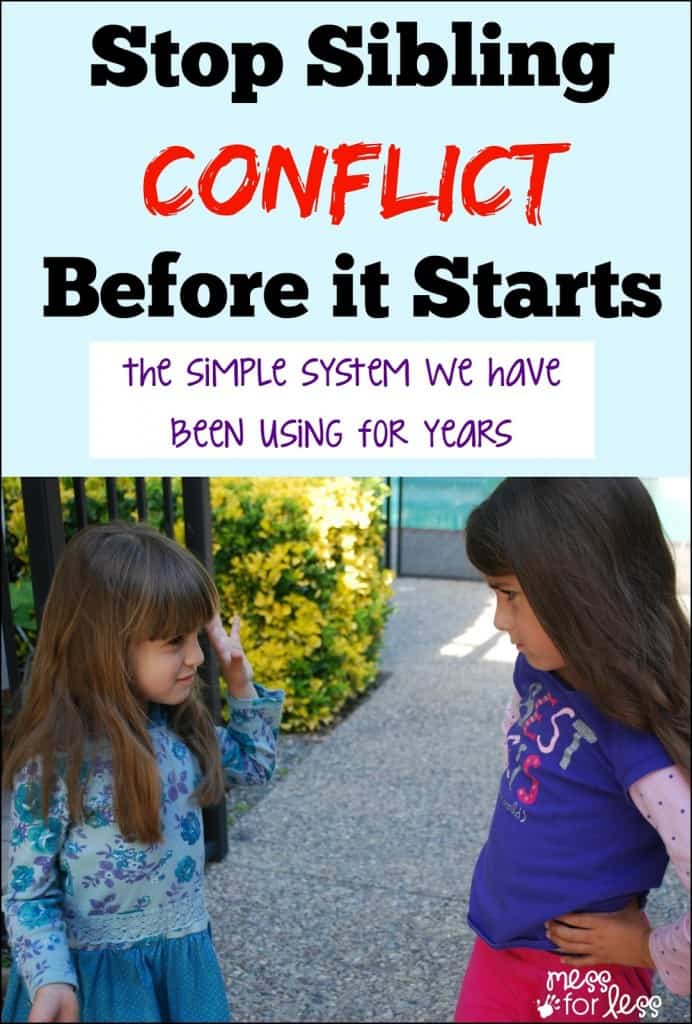 Stop Sibling Conflict Before it Starts - Discover the system we have been using for years with our kids. It's simple and it works!