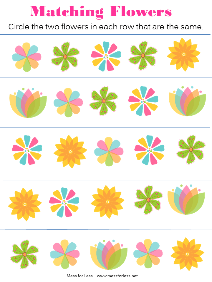 math worksheet : free spring preschool worksheets  mess for less : Flower Worksheets For Kindergarten