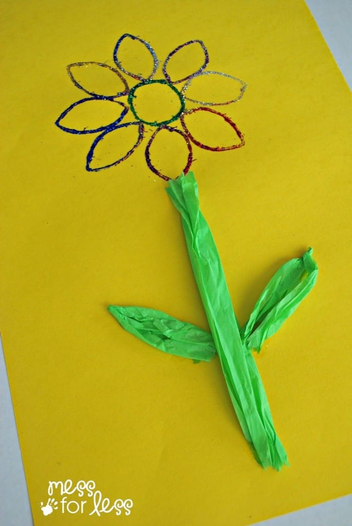 Glitter Flower Art for Kids - a simple and beautiful Spring craft!