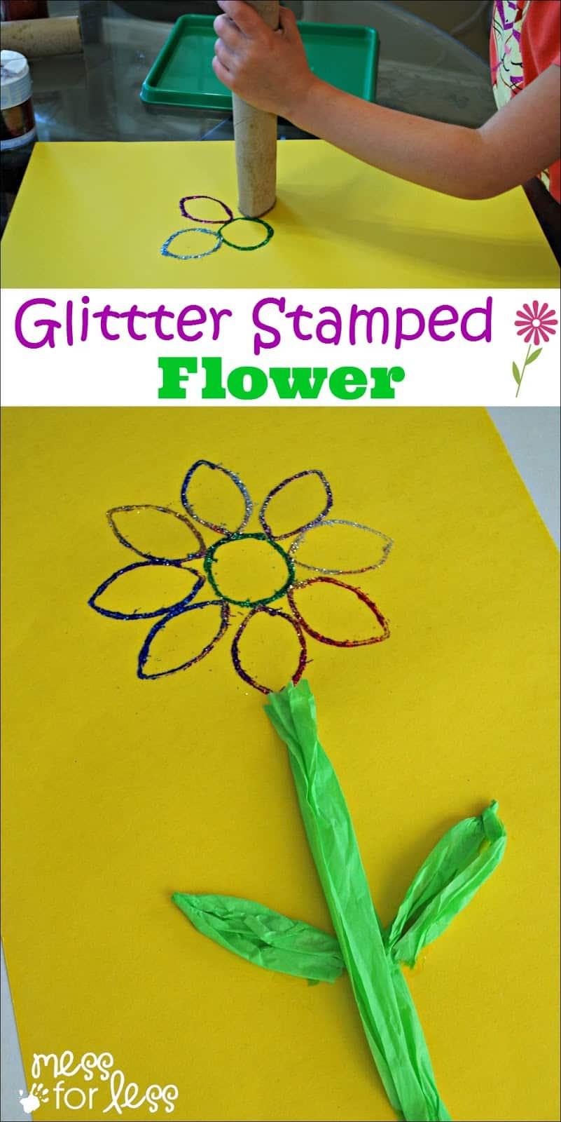 Glitter flower art for kids mess for less for Glitter crafts for kids