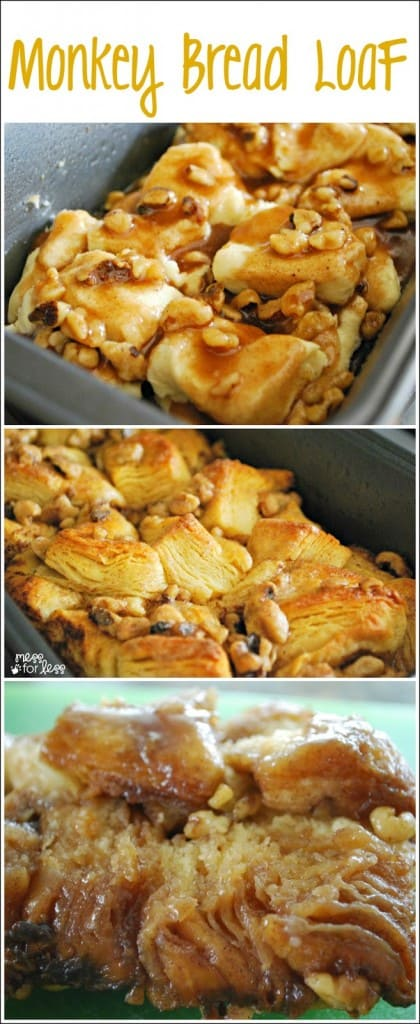 Monkey Bread Recipe - this Monkey Bread loaf is so simple to make thanks to refrigerated biscuit dough. So gooey and delicious!