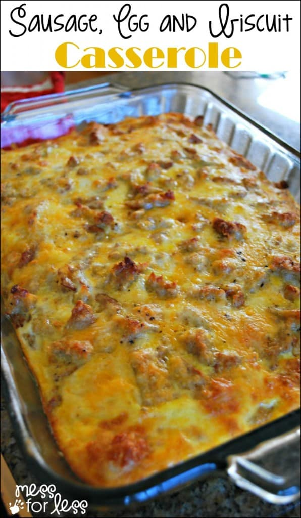 The BEST make ahead casserole ever! This sausage, egg and biscuit breakfast casserole can be made the night before. Warm, cheesy and delicious! #breakfastcasserole #breakfast #makeaheadbreakfast