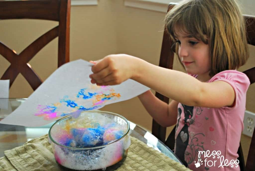 kids art -soap foam prints