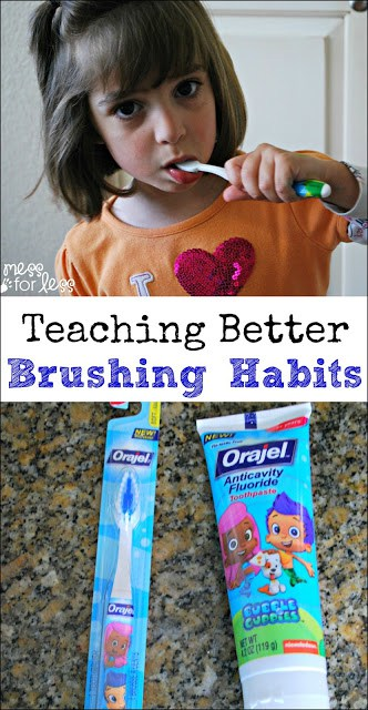 Teaching Better Brushing Habits - As kids grow they will start brushing their teeth on their own. Simple tips to teach them good habits. #sponsored #SmileStones