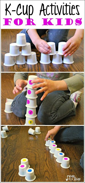 K-Cup Activities for Kids - Lots of ways to play and learn with K-Cups! Dunkin' Donuts K-Cups are delicious for adults and fun for kids. #sponsored #DunkinKcupLove