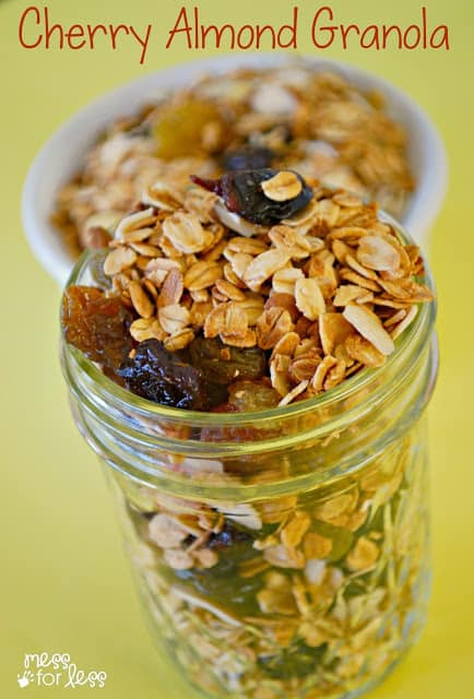 Cherry Almond Granola Recipe - this healthy granola recipe uses just a touch of honey and is fruity, nutty and delicious!