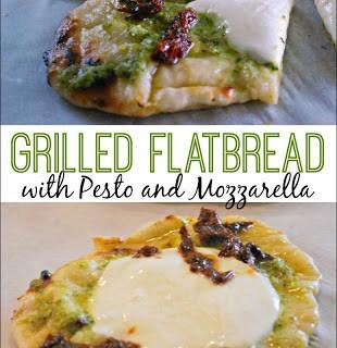 Grilled Flatbread with Pesto and Mozzarella