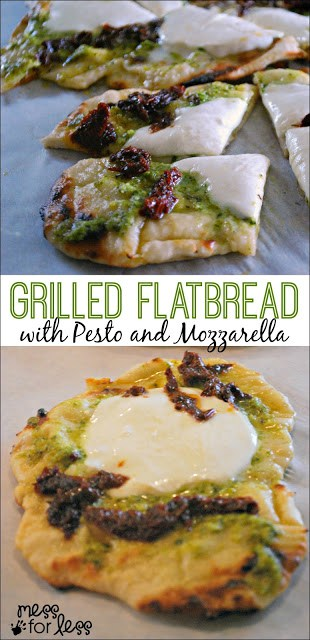 Grilled Flatbread with Pesto and Mozzarella - This is amazing! Simple to make for a crowd but be warned, people will not be able to stop eating it! #ad #ArtofGrilling