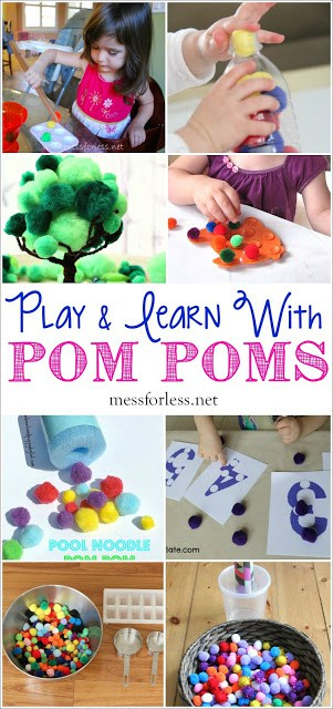 25 Ways to Play and Learn with Pom Poms - fine motor skills, sensory activities, math and other learning activities can all be enjoyed with pom poms!