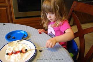 toddler recipes - yogurt covered berries on a stick
