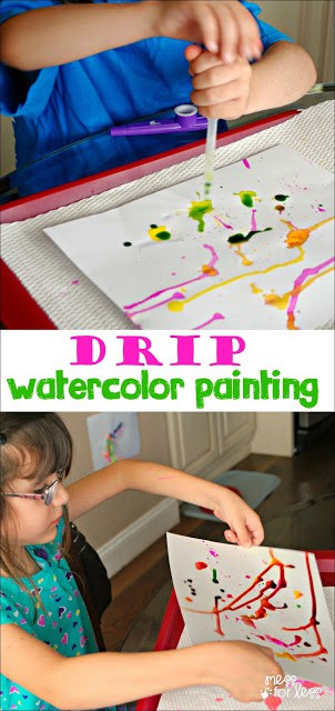 This kids art activity is so much fun! Kids use an eye dropper and watercolor paints to create. My little ones loved this kids craft.