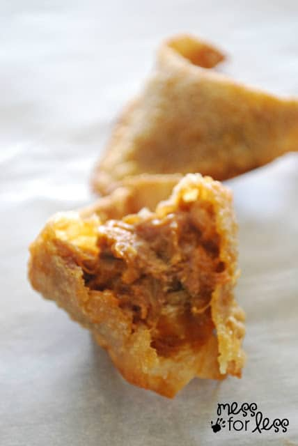how to make pulled pork bbq fried wontons