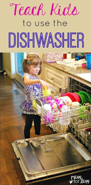 Teach Kids to Use the Dishwasher - these tips will get your kids helping out around the house! ad