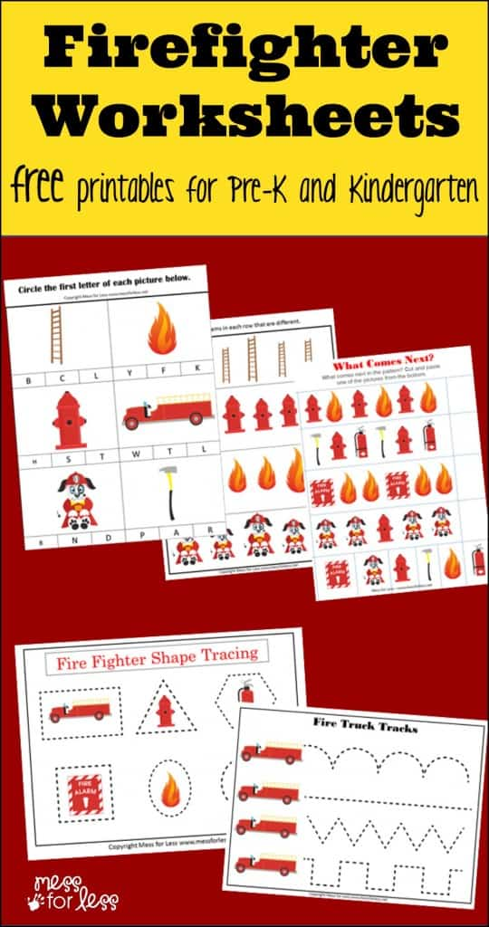 Firefighter Kindergarten Worksheets - Mess for Less
