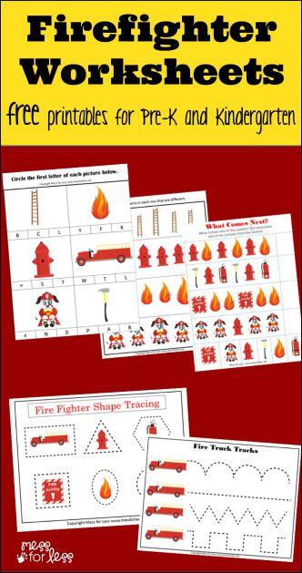 Firefighter Kindergarten Worksheets Mess For Less