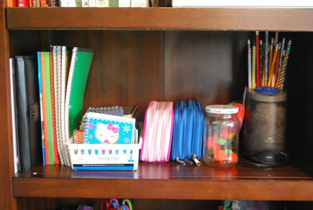 kids art shelf organization stips