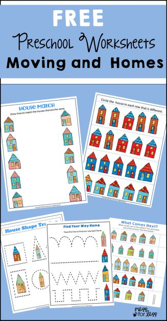 Worksheets Home 2015: Free Preschool Worksheets   Moving and Homes   Mess for Less,
