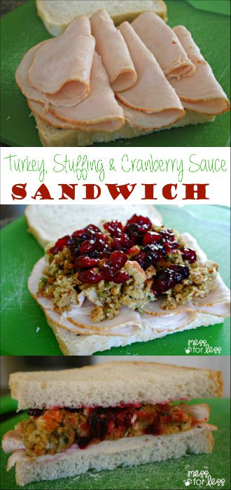 This Turkey Stuffing and Cranberry Sauce Sandwich is a filling lunch or dinner option that combines all of your favorite Thanksgiving flavors! DontCallMeBasic AD