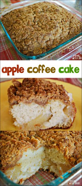 This apple cake recipe is a great twist on traditional coffee cake. I used it for a potluck breakfast, but it makes an indulgent dessert served with ice cream. A favorite Fall recipe!