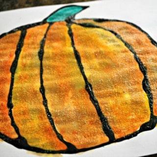 Halloween Crafts for Kids – Black Glue and Salt Pumpkin