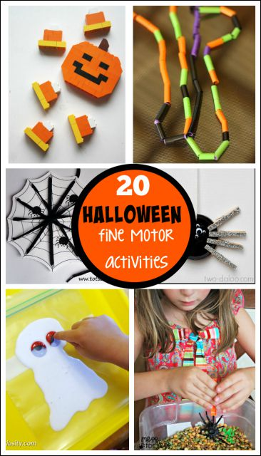 Halloween Fine Motor Activities - fun Halloween ideas that work on fine motor skills.
