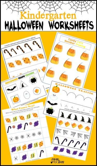 Free Kindergarten Halloween Worksheets - Mess for Less