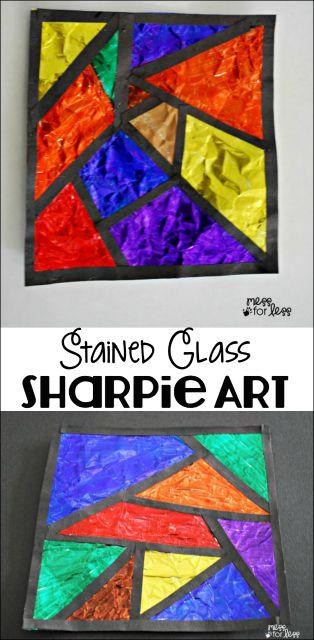 Use items you probably already have at home to create this eye popping stained glass art!