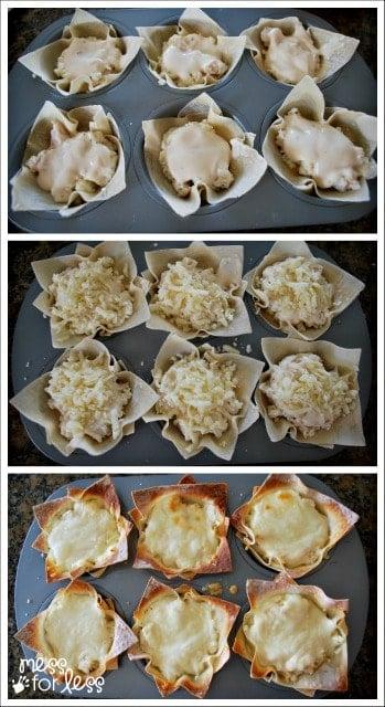 chicken alfredo lasagna cups