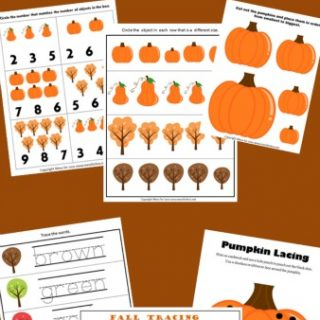 Preschool and Kindergarten Worksheets for Fall