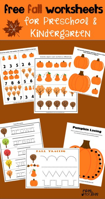 math worksheet : preschool and kindergarten worksheets for fall  mess for less : Free Download Kindergarten Worksheets