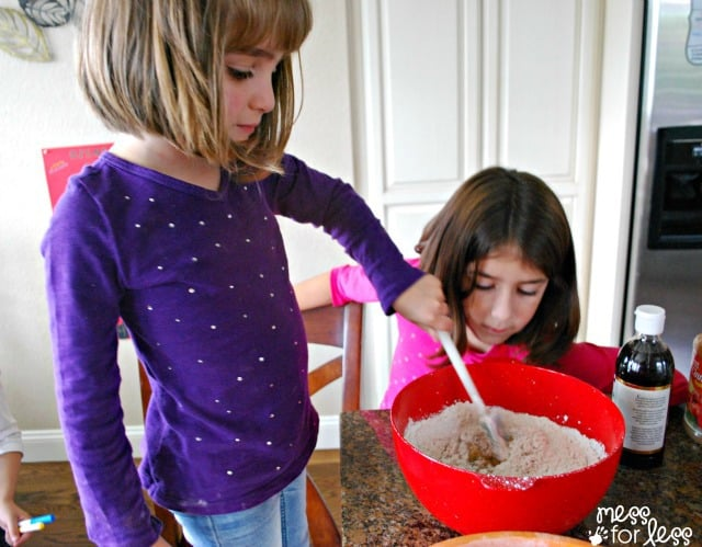kids making banana bread muffins