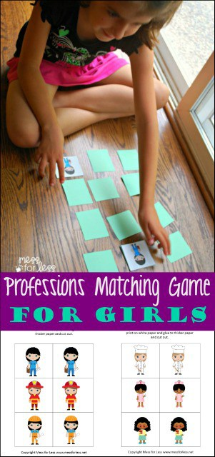 Professions Matching Game for Girls - Girls can be anything! Encourage that limitless potential by giving them this matching game featuring a variety of careers they can pursue. #sponsored #Barbie