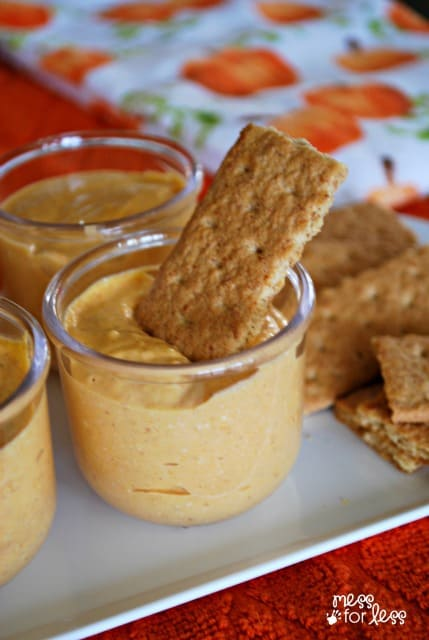 This pumpkin dip has a creamy texture and pairs wonderfully with sliced apples and crackers! ad #SnackandSmile