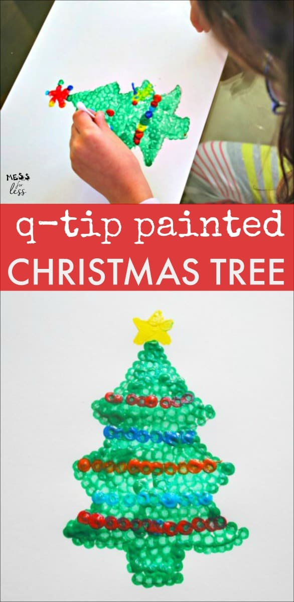 This q-tip painted tree is the perfect Christmas Craft for kids. I love that I already have all the supplies I need at home! #christmas #christmascraft #kidsactivities