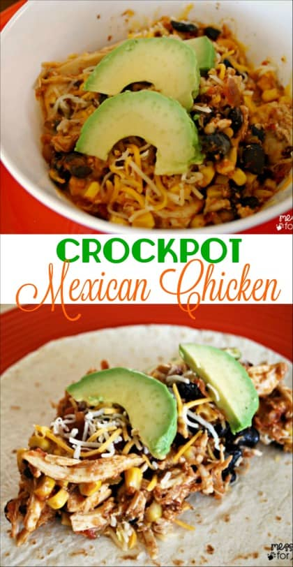 Mexican Crockpot Chicken Recipe - take the stress out of dinner with this versatile chicken dish that can be served alone, over while rice on in a burrito.