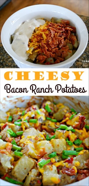 My family loves these Cheesy Bacon Ranch Potatoes. Just 4 ingredients! Sponsored by Hidden Valley @HVRanch TasteNotWaste