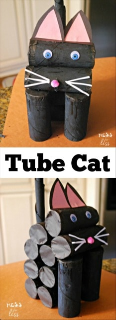 This adorable cat craft was made using paper tubes. This is a perfect art project for your cat loving kid! MillionMeowMission AD
