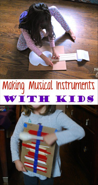 Making musical instruments with kids is easier than you think. They can use their instruments for pretend play or to form their own band. sponsored