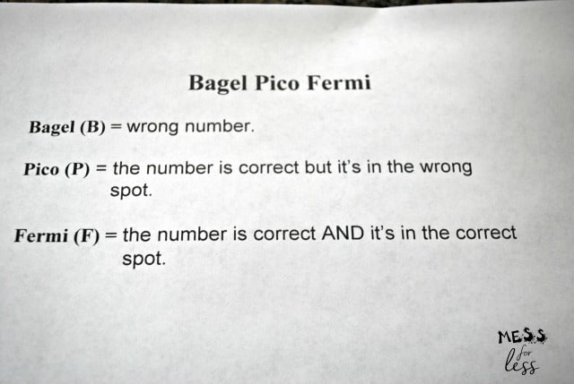 rules for bagel pico fermi